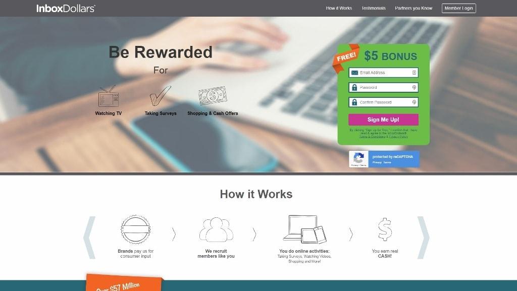 InboxDollars Homepage Screenshot
