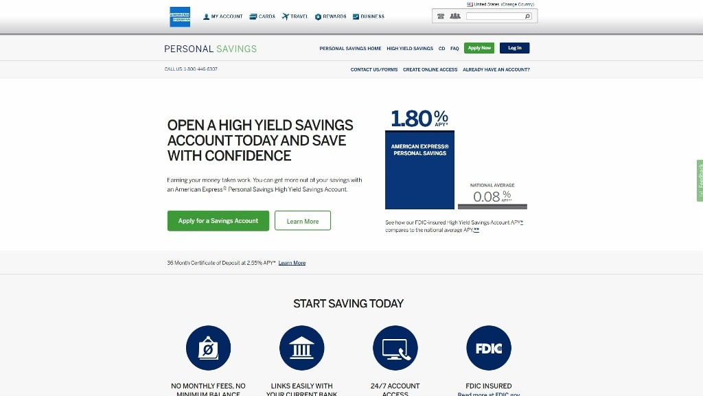 American Express Personal Savings Homepage